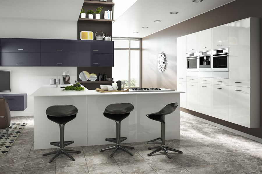 Rigid Gloss MFC White and Anthracite Kitchen