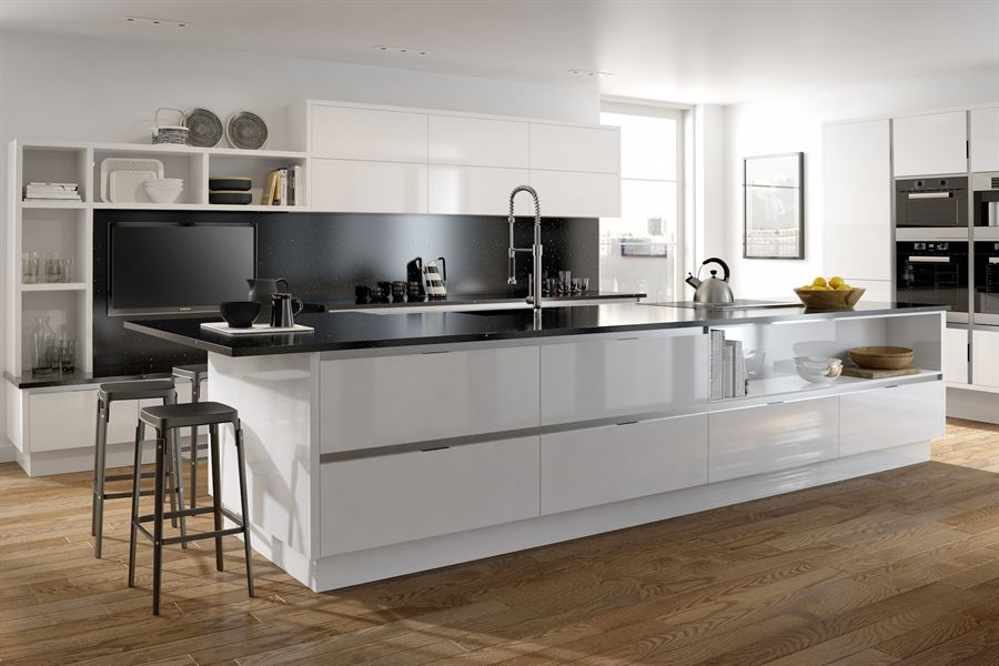 Inset Mattonella Gloss White Kitchen