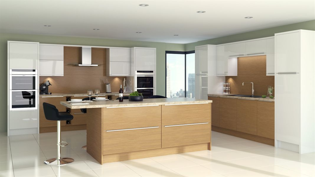 Lissa Oak Slab Kitchen
