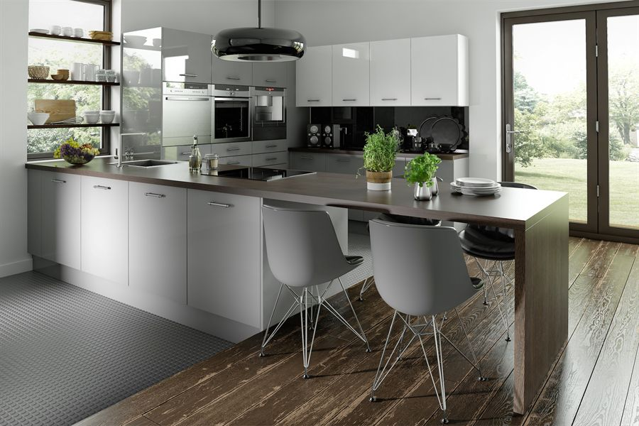 Logica Gloss Grey & White Kitchen