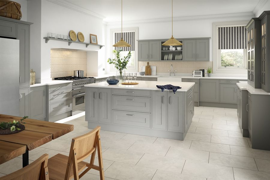 Edwardian Painted Light Grey Kitchen
