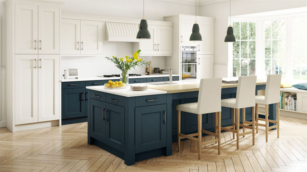 kitchen design in oxford stately shaker painted oxford blue amp ivory sheraton 620