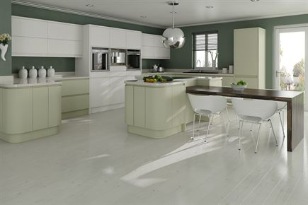 Fusion Painted White & Green Kitchen