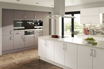 Rigid Plain Colour MFC White and Truffle Kitchen