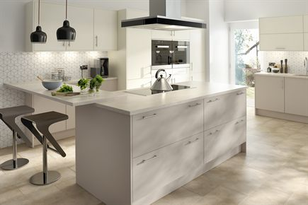 Rigid Plain Colour MFC Cashmere and Ivory Kitchen