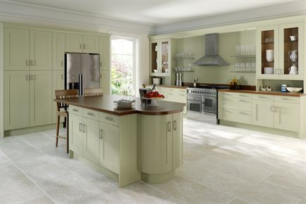 Painted Gree Wood Shaker Kitchen